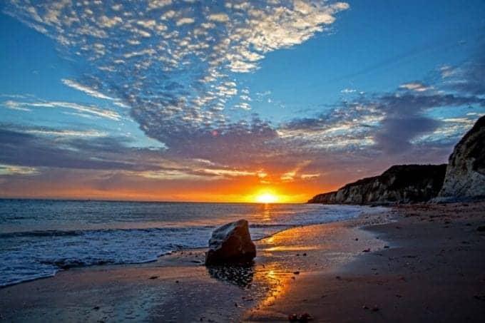 Santa Barbara, Sunset over the Pacific Ocean at Arroyo Hondo Beach near the city of Goleta in southern California