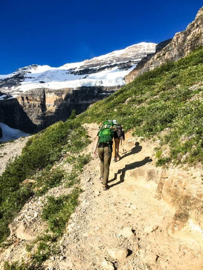 The Plain of Six Glaciers trail in Banff National Park leading to the remote tea house.