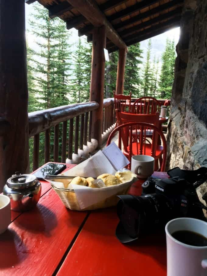 Bright red table and chairs, coffee, tea and biscuits made this Banff Tea House the perfect stop along the Plain of Six Glaciers trail.