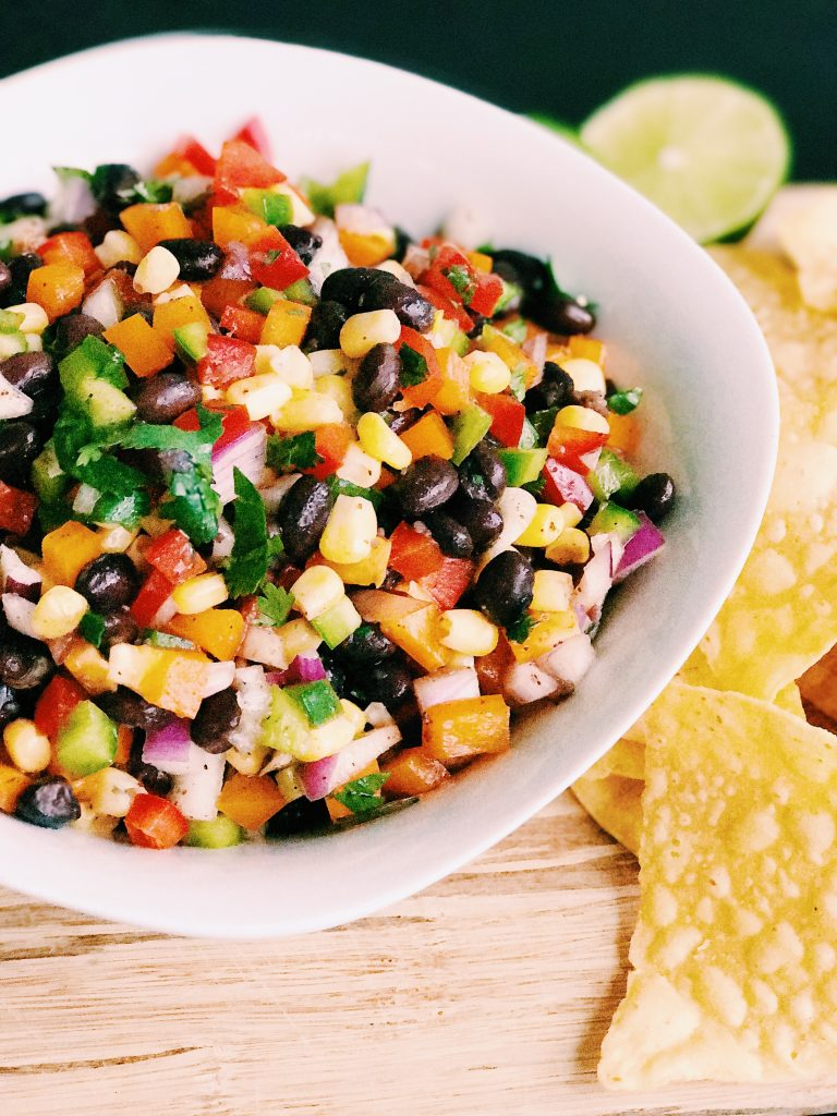Black bean and corn salsa recipe with tortilla chips