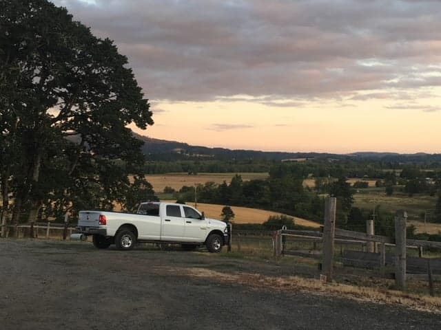 The beautiful view at dusk from the hilltop winery we visited, Plum Hill Vieyards in Gaston, OR
