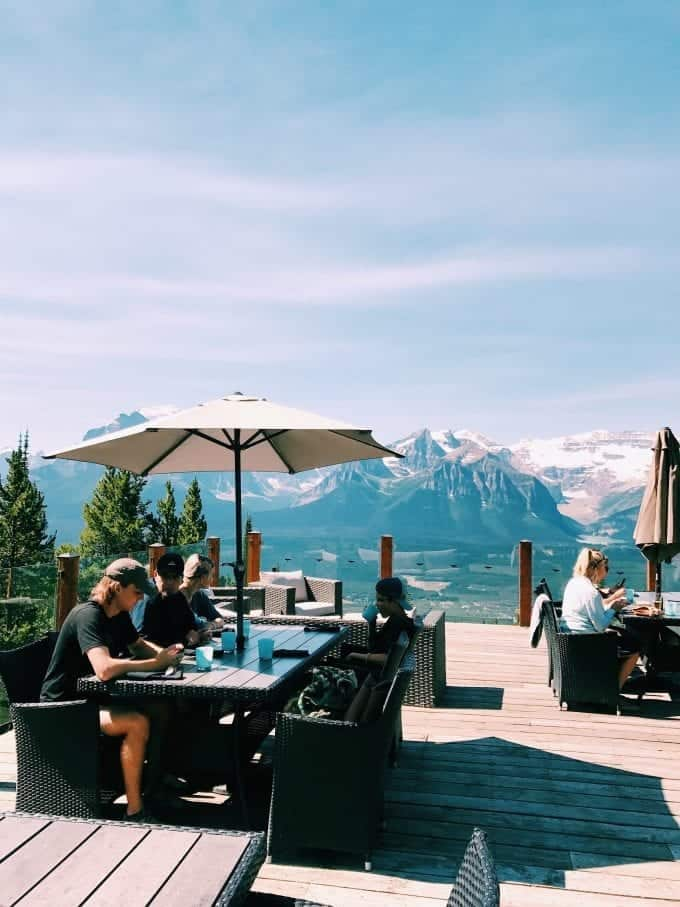 The view from Whitehorn Bistro at Lake Louise in Alberta, Canada