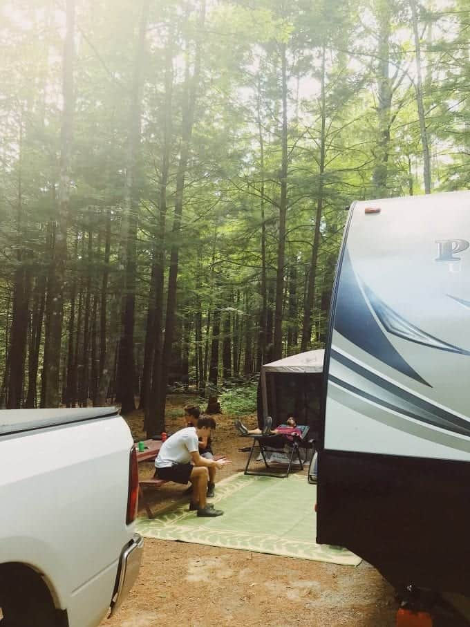 Full time RVing: Resting up under the pines of Vermont after a long travel day.