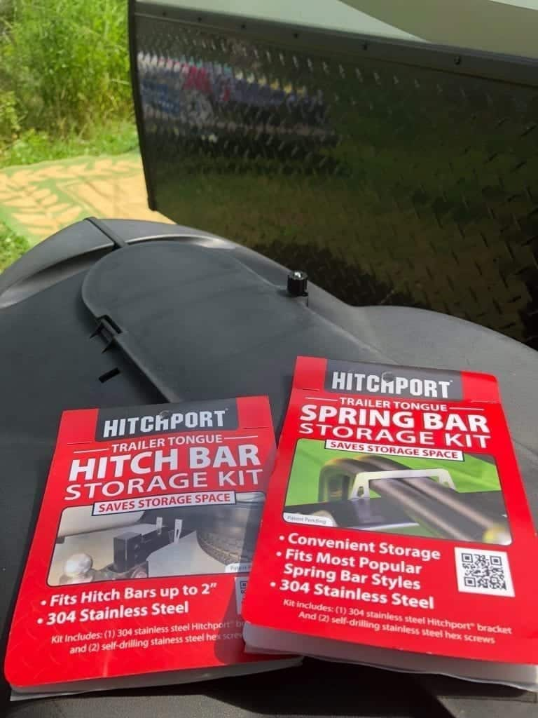 Two products from HITCHPORT that make storing your weight distribution hitch so much safer and easier: Hitch Bar Storage Kit and Spring Bar Storage Kit
