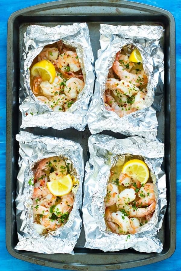 Baked Shrimp Scampi Foil Packets