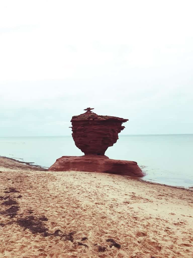 Teacup rock in Prince Edward Island