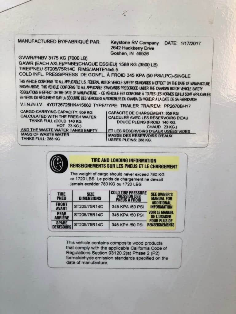 This is the information sticker on the side of our 2017 Keystone Passport 2670BH that gives all the specs and safety information for the travel trailer.