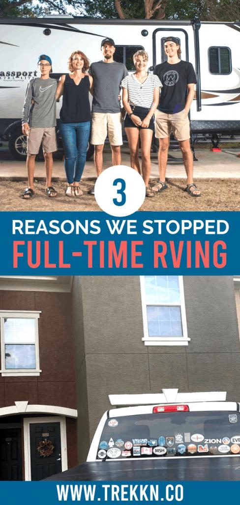 Stopped Full-Time RVing