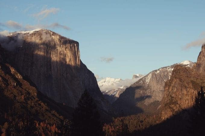 Snow-dusted El Capitan and Half Dome in Yosemite National Park in the Spring. What a stunning view!