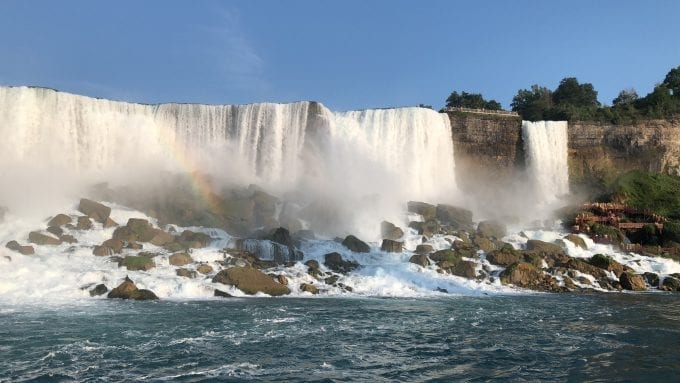 American Falls (left) and Bridal Veil Falls (right) as viewed from the Maid of the Mist boat tour at Niagara Falls New York.