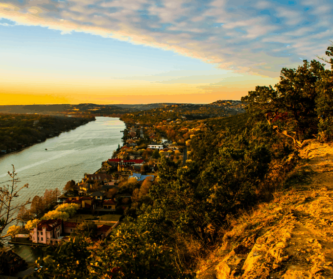 mount bonnell in Austin TX at sunset