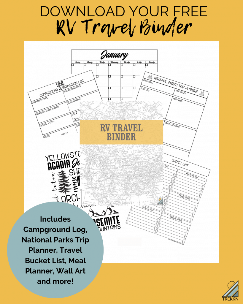 TREKKN's RV travel planner binder