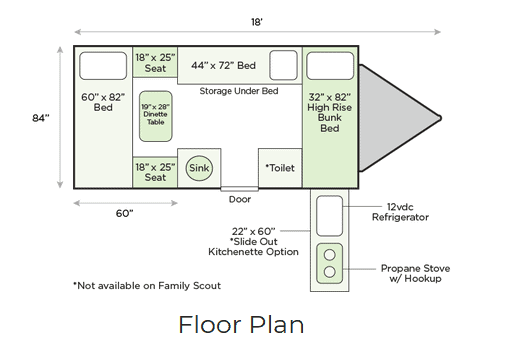 Floor plan for the Aliner Family Scout small camper with bathroom.