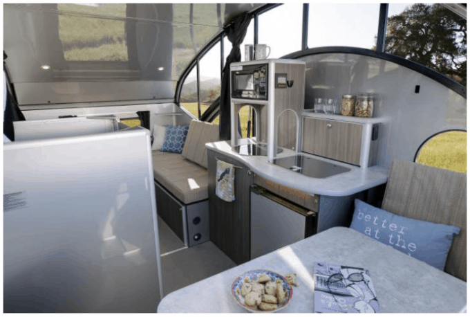 Interior view of the Alto Teardrop Camper by Safari Condo, a Canadian RV company.
