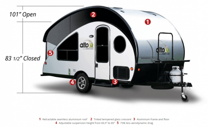 Profile view with dimensions of the Alto Teardrop Trailer with retractable roof