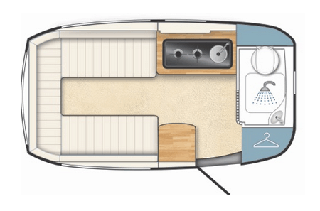 Floor plan for the Barefoot travel trailer, born and built in Great Britian.