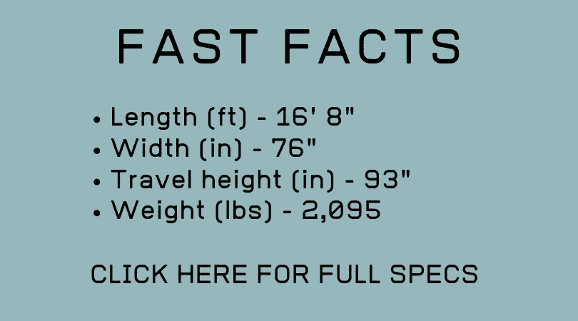 Full dimensions and dry weight of the Barefoot travel trailer are shown in this graphic.