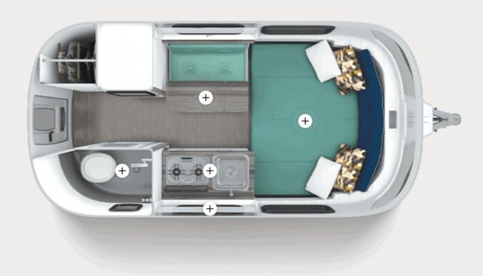 3D floor plan of the Nest Travel Trailer by Airstream, the company's 2019 addition to its RV lineup.