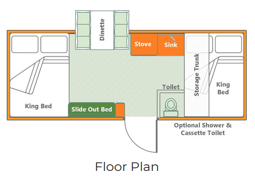 Spacious floor plan of the Aliner Somerset Utah Camping Trailer, including optional shower and toilet.