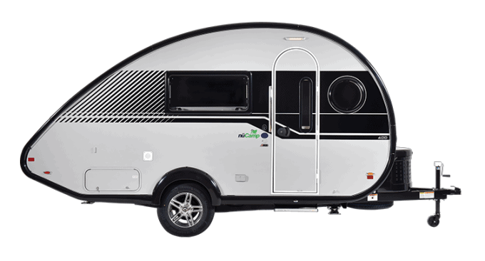 A profile view of the TAB 400 Teardrop Trailer by NuCamp RV.
