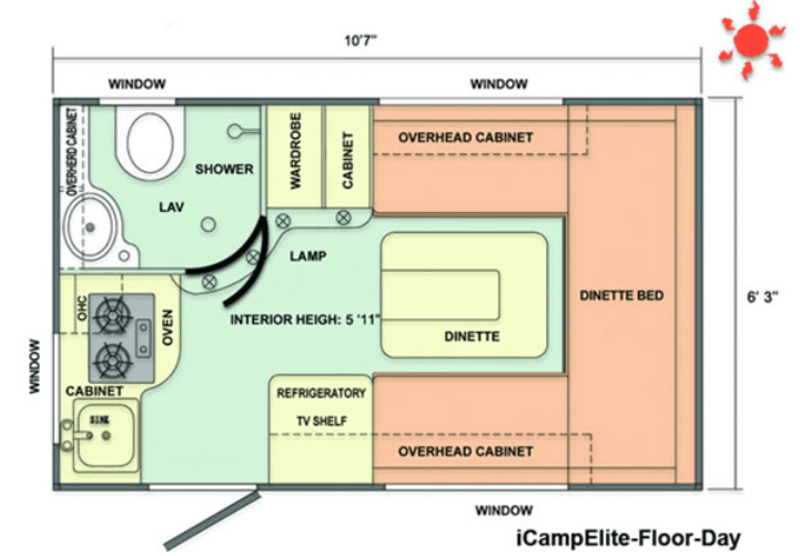 The iCamp Elite travel trailer floor plan stands out from the crowd in the small campers with bathrooms category.