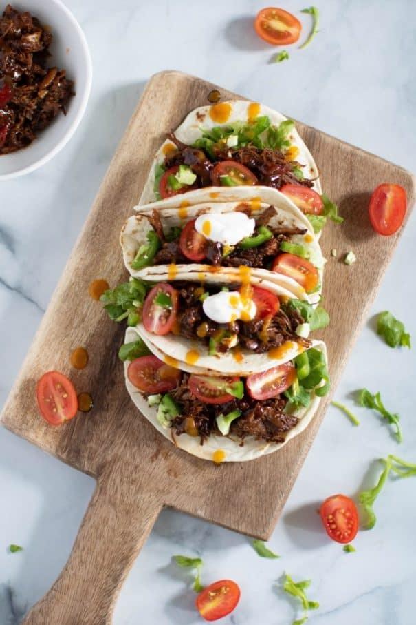 BBQ braised rib tacos