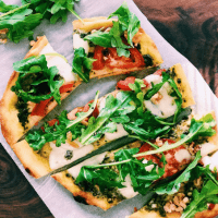 Naan Pizza Recipe with Pesto & Arugula