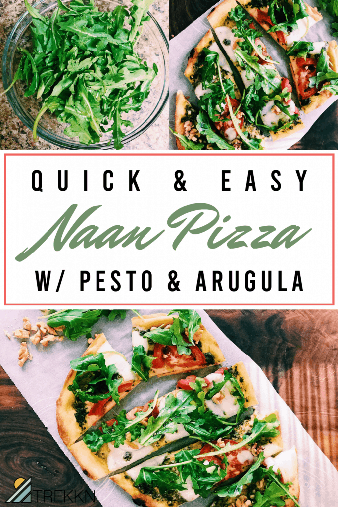 naan pizza with pesto and arugula