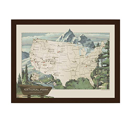 National Parks Map | National Parks of the USA Map | National Parks Push Pin Map | National Parks Gifts | Hiking Gifts | Handmade in USA