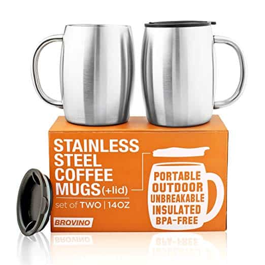Stainless Steel Coffee Mugs with Lid (Set of 2)