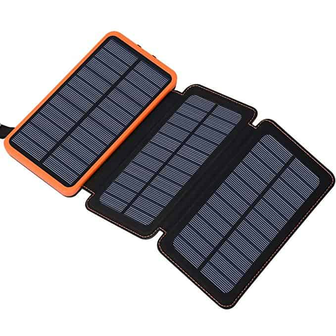 Solar Charger 24000mAh, FEELLE Solar Power Bank with 2 USB Ports Waterproof Portable