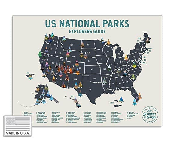 USA National Park Scratch Off Map (24 x 17) - Interactive Travel Scratch-Off Poster Reveals Images of All 61 US National Parks