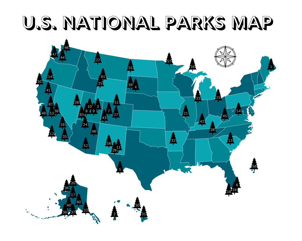 2021 us national parks printable map