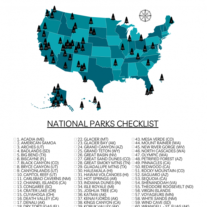 Your Printable U.S. National Parks Map with All 63 Parks (2021)