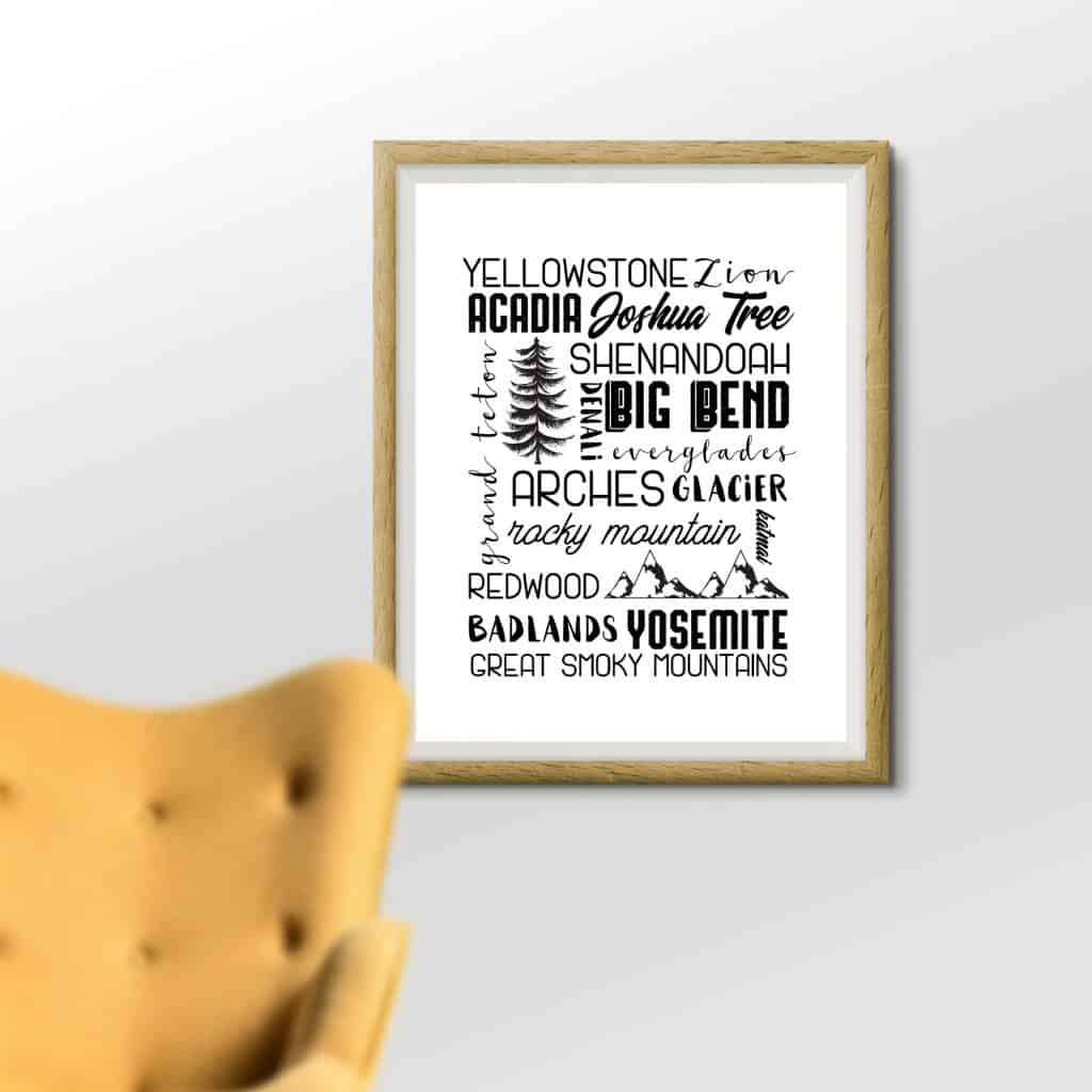 National Park Subway Art Printable