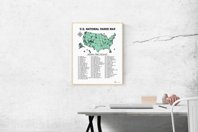 National Parks Map 11 x14 Wall Hanging