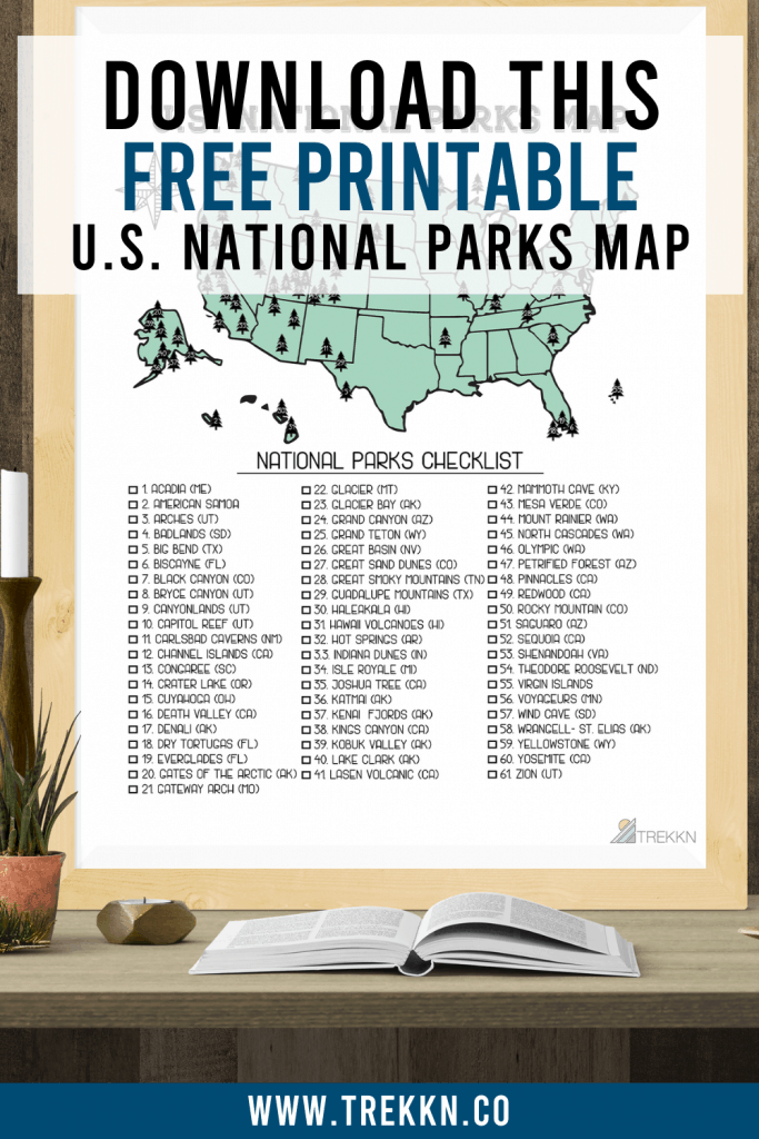 US National Parks Map Printable