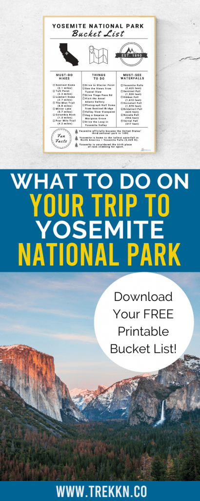 Printable Yosemite National Park Bucket List
