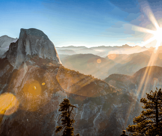 Sun rising on Half Dome in Yosemite National Park