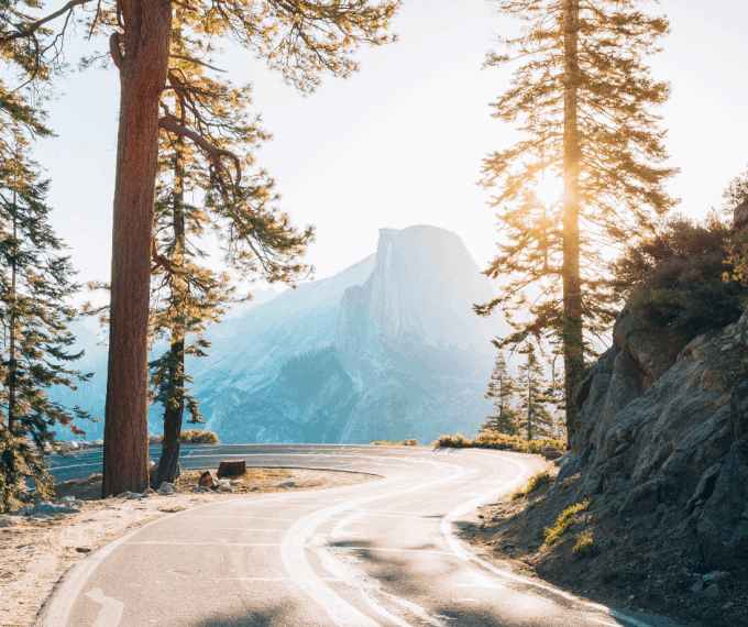 View of Half Dome from Glacier Point Road Yosemite
