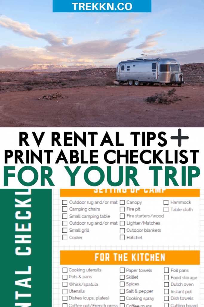RV Rental Checklist