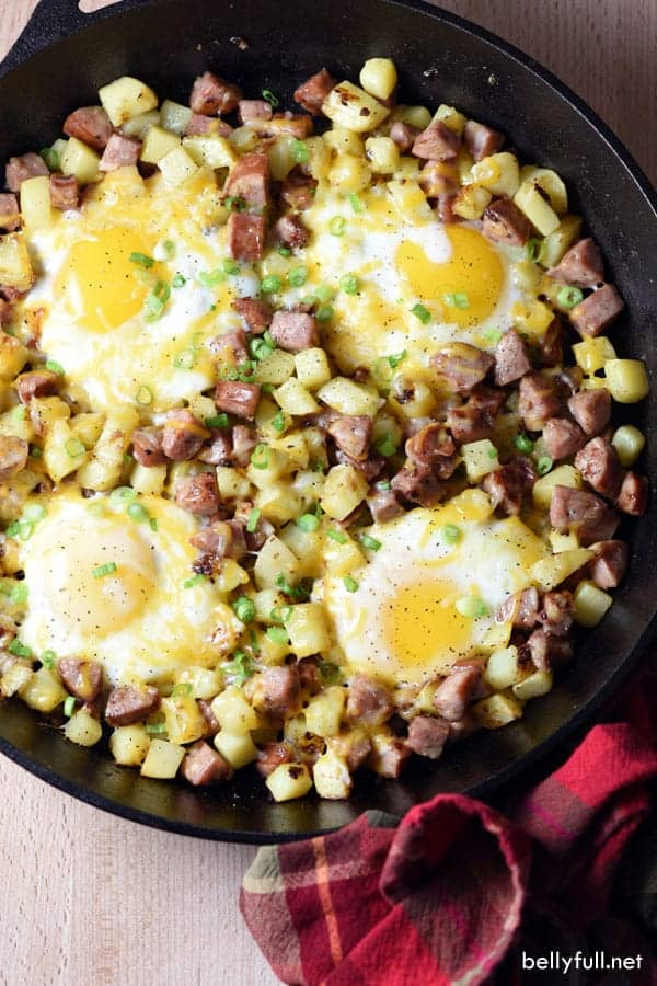 Breakfast hash in cast iron skillet