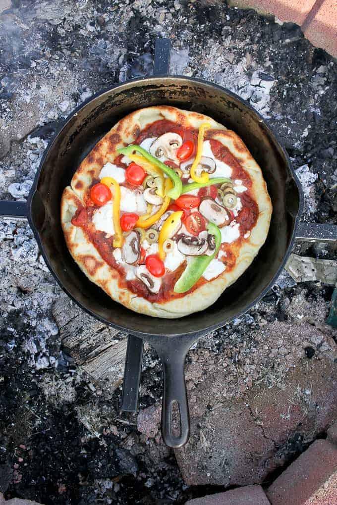Cast iron Skillet Campfire Pizza recipe