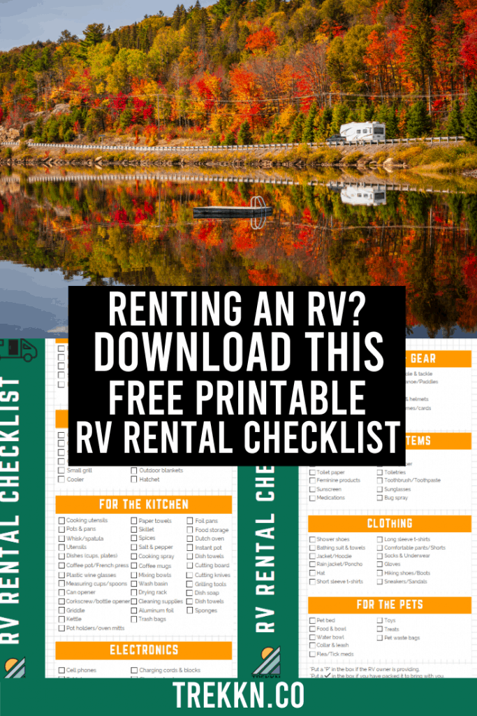 RV Rental Checklist Free Printable