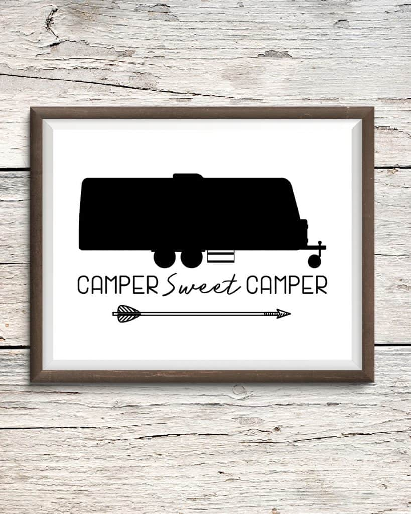 Camper Sweet Camper Printable Sign for Travel Trailers