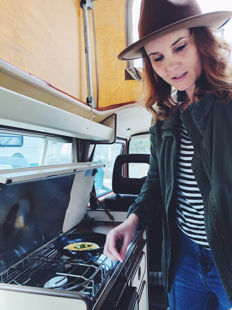 Cooking meals in a camper van