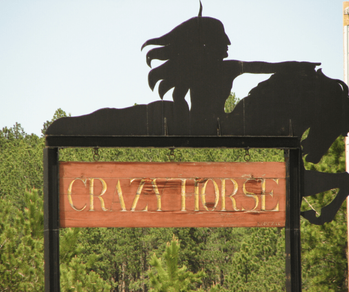 crazy horse monument sign in south dakota