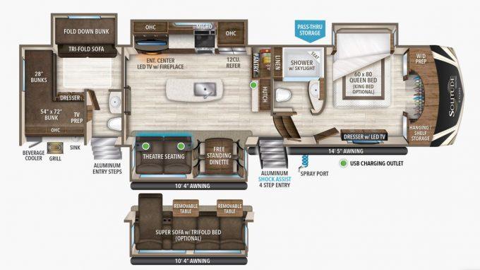Solitude Fifth Wheel Floorplan