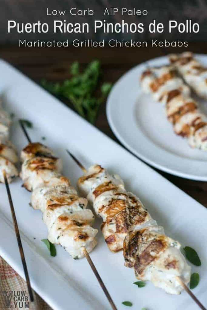 Pinchos Puerto Rican Marinated Grilled Chicken Kebabs
