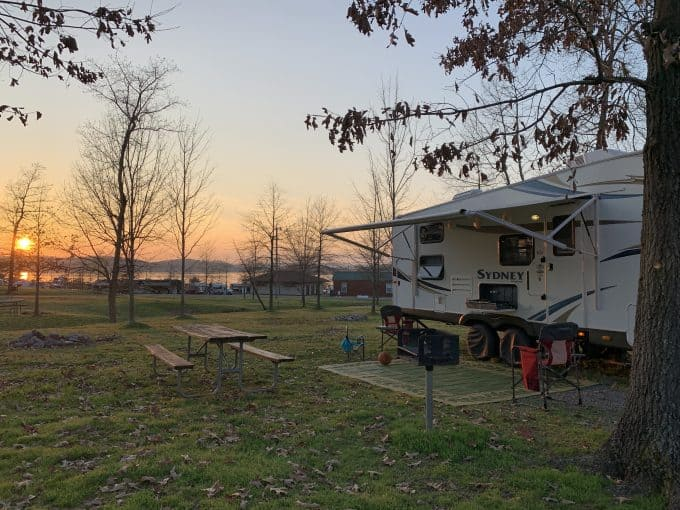 Weekend RV camping on the lake